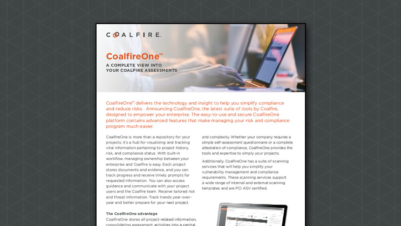 CoalfireOne Overview - A Complete View into your Coalfire Assessements