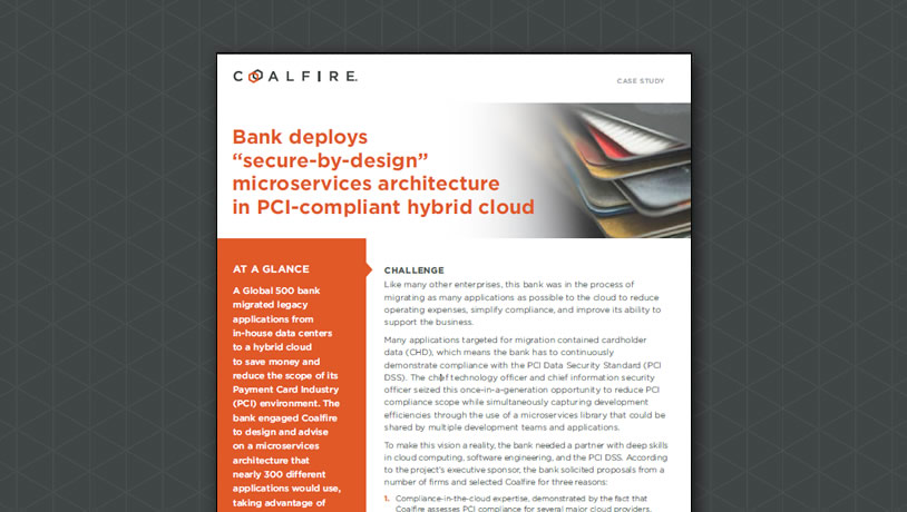 "Bank deploys ""secure-by-design"" microservices architecture in PCI-compliant hybrid cloud"