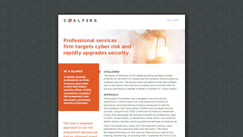 Professional services firm targets cyber risk and rapidly upgrades security