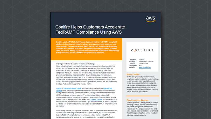 Coalfire Helps Customers Accelerate FedRAMP Compliance Using AWS