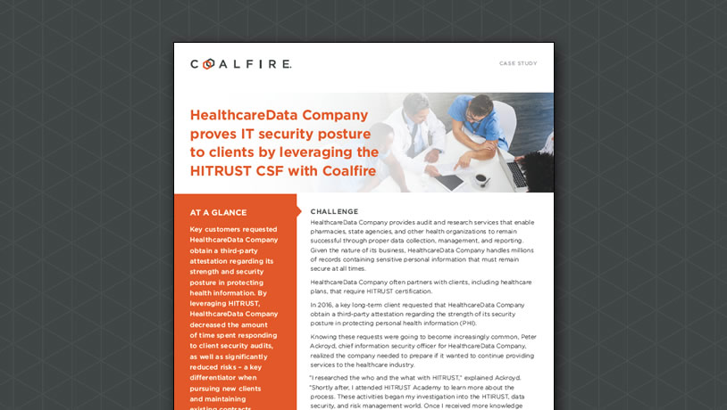 HealthcareData Company proves IT security posture by leveraging HITRUST CSF with Coalfire