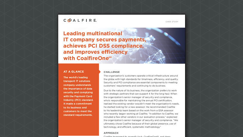 IT company achieves PCI DSS compliance with CoalfireOne