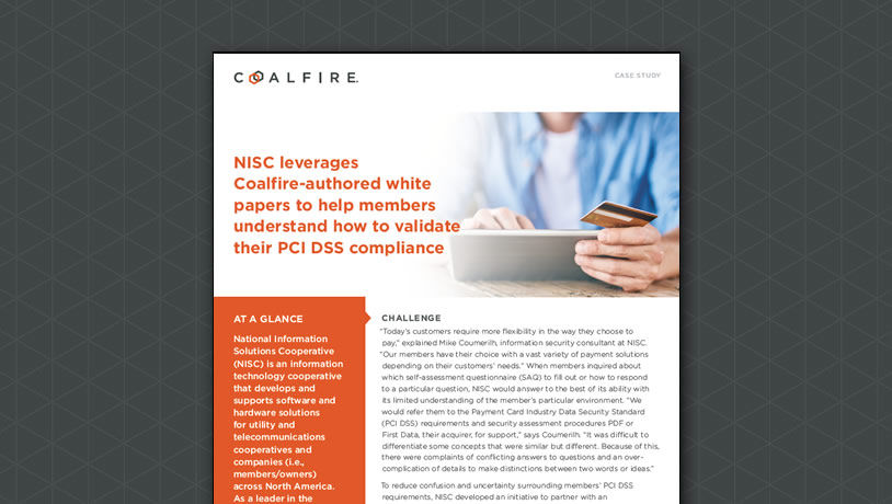 NISC Leverages Coalfire-authored whitepapers to help explain how to validate PCI environments