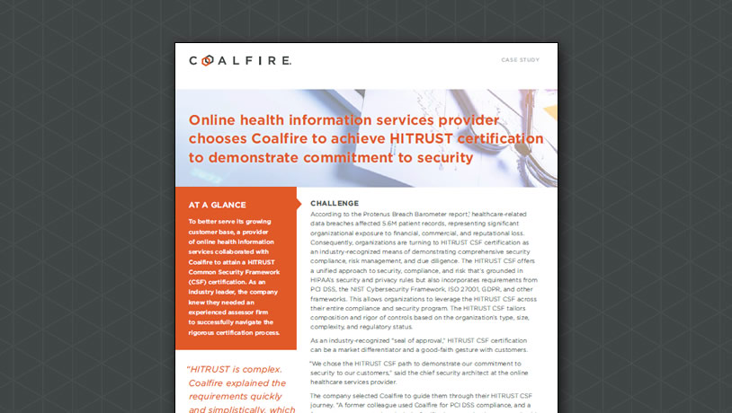 Online health information services provider chooses Coalfire to achieve HITRUST