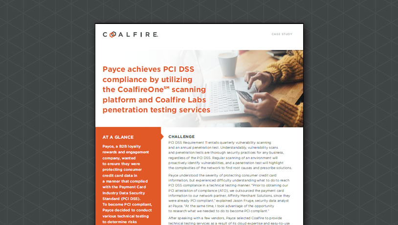 Payce achieves PCI DSS compliance with CoalfireOne scanning platform