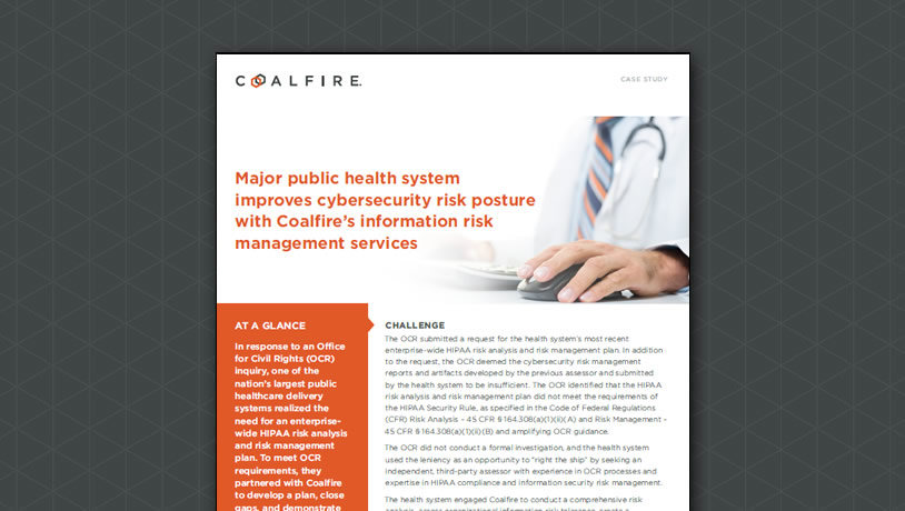 Major public health system improves cybersecurity risk posture with Coalfire