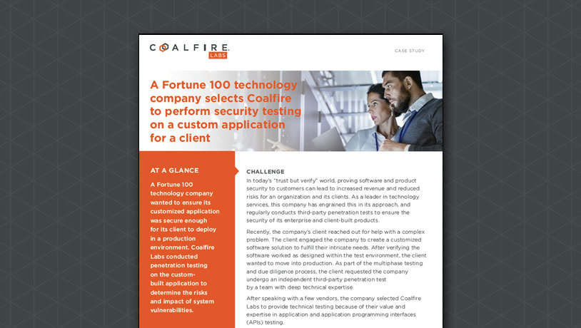 A Fortune 100 technology company selects Coalfire to perform application security testing