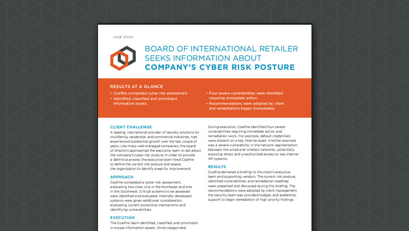 Board of International Retailer Seeks Information About Company's Cyber Risk Posture