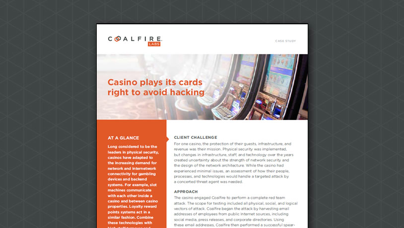 Casino plays its cards right to avoid hacking