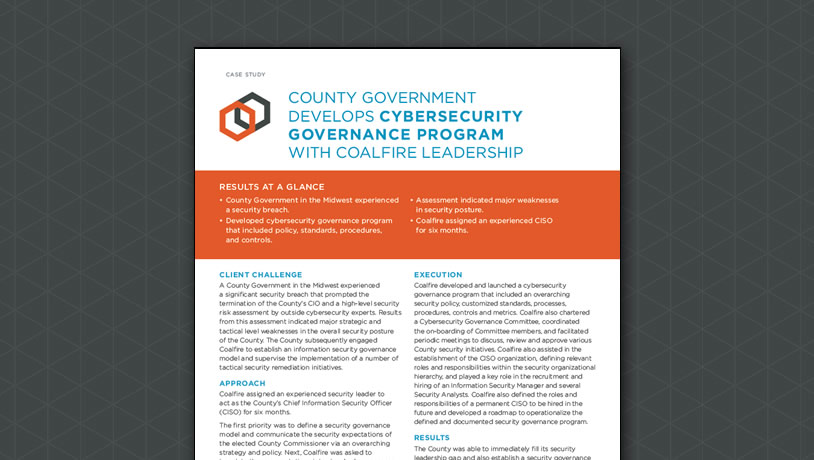 County Government Develops Cybersecurity Governance Program