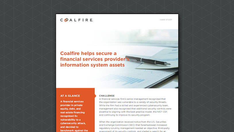Coalfire helps financial services provider secure information system assets