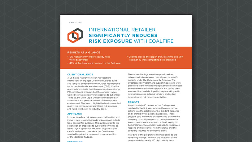 International Retailer Significanly Reduces Risk Exposure with Coalfire