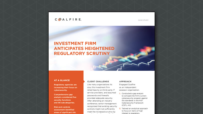 Investment Firm Anticipates Heightened Regulatory Scrutiny