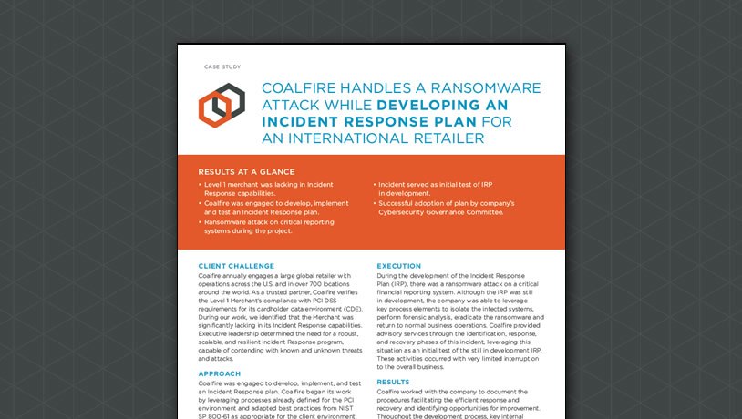 Coalfire Handles Ransomware Attack for International Retailer