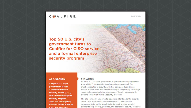 City's government turns to Coalfire for CISO services and enterprise security
