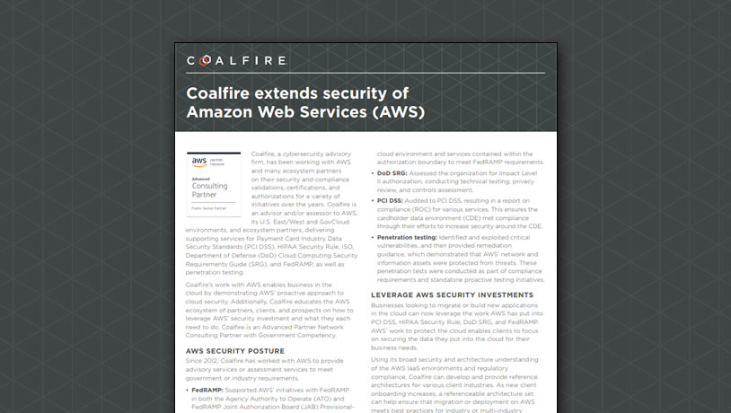 Coalfire extends security of Amazon Web Services (AWS)