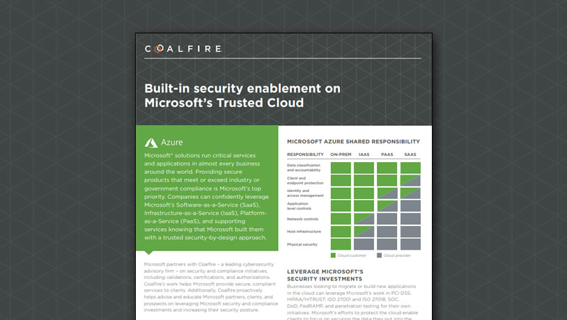 Built-in security enablement on Microsoft's Trusted Cloud