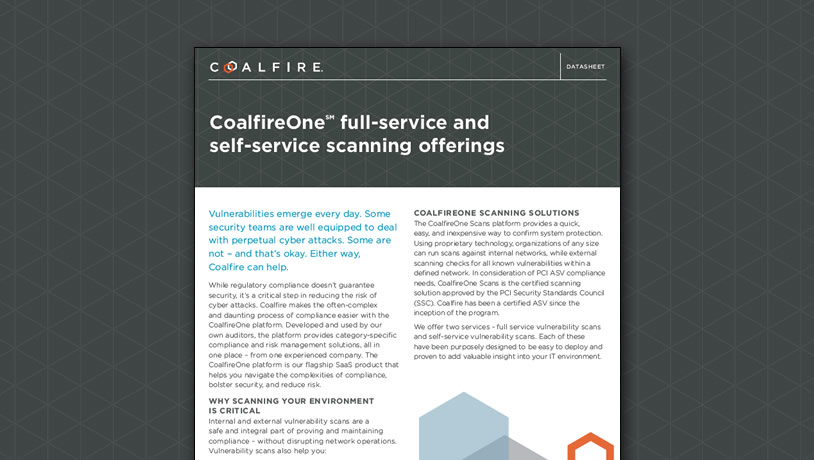 CoalfireOne full-service and self-service scanning offerings