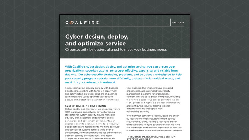 Cyber design, deploy, and optimize service
