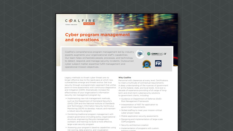 Cyber program management and operations
