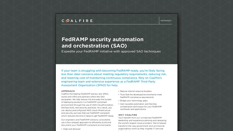 FedRAMP security automation and orchestration (SAO)