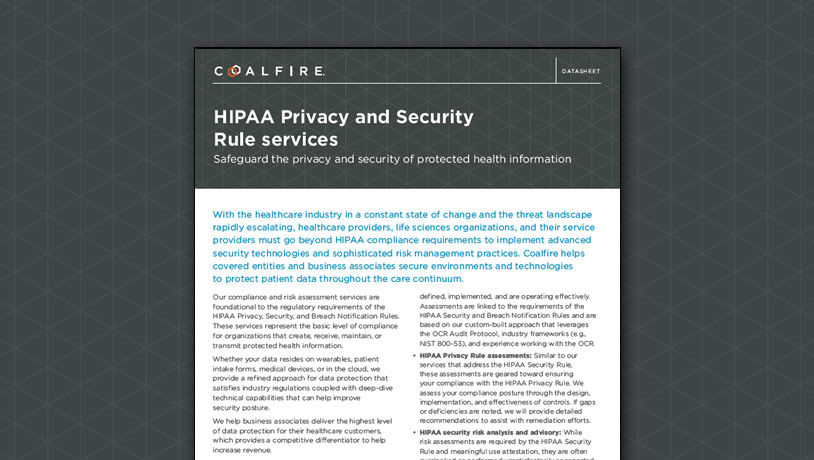 HIPAA Privacy and Security Rule services