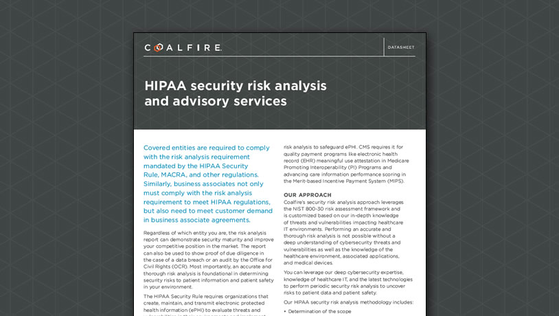HIPAA security risk analysis and advisory services