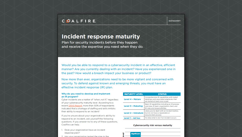 Incident response maturity