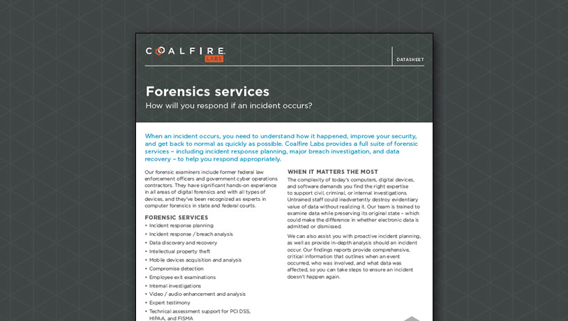 Coalfire Labs Forensics Services