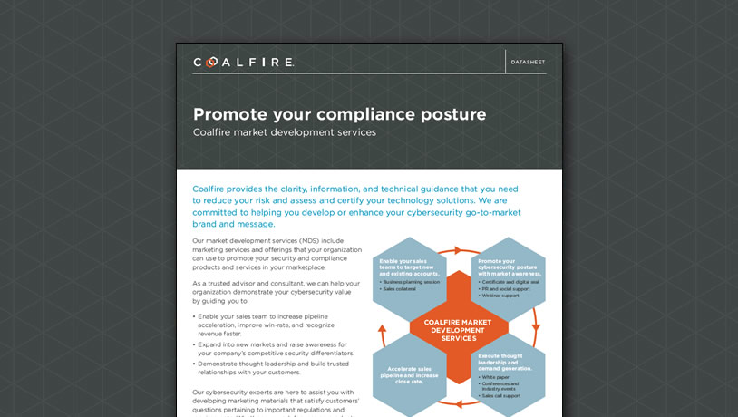 Promote your compliance posture - Market development services