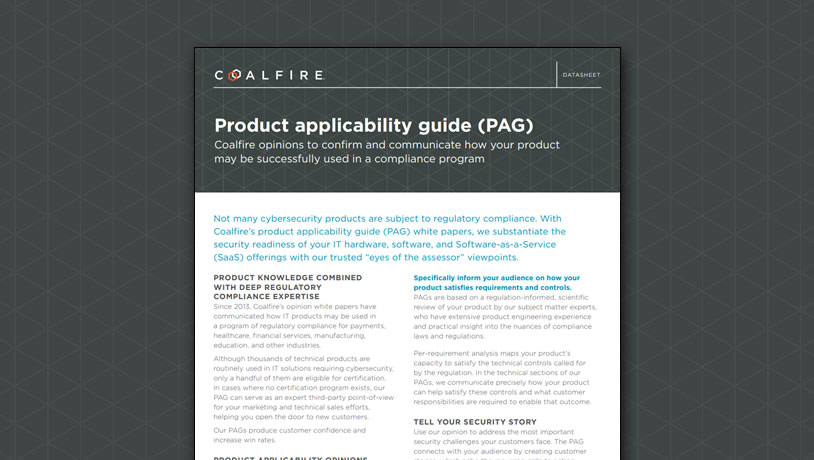 Product applicability guide (PAG)