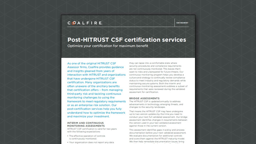 Post-HITRUST CSF certification services