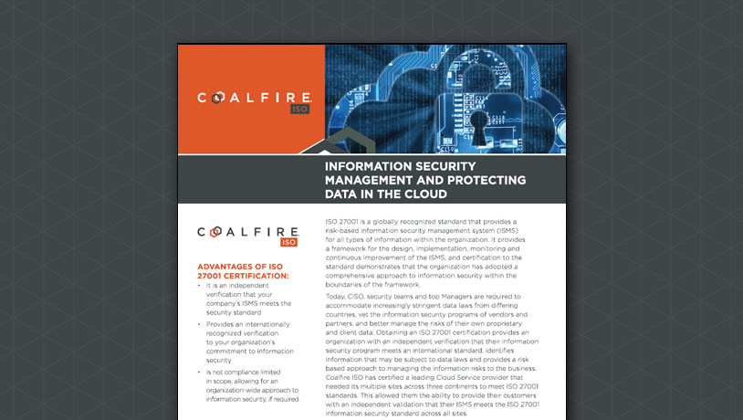Information Security Management and Protecting Data in the Cloud