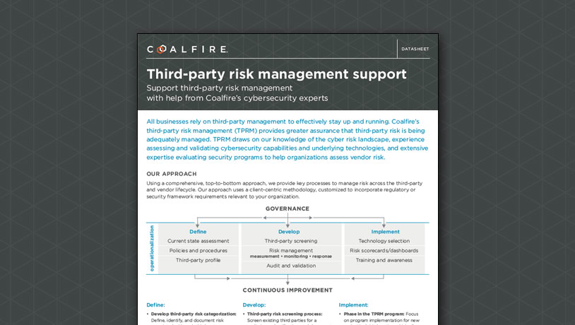 Third-party risk management support