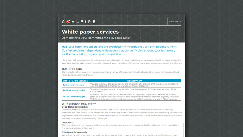 White paper services - Demonstrate your commitment to cybersecurity