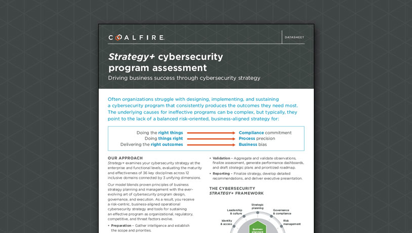 Strategy+ cybersecurity program assessment