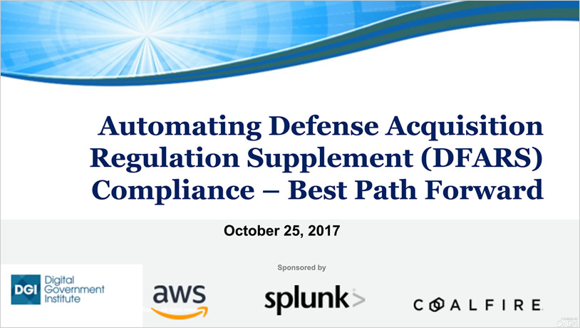 Automating DFARS Compliance - Best Path Forward
