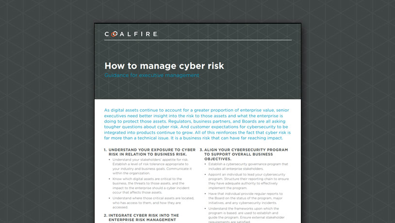 How to manage cyber risk - guidance for executive management