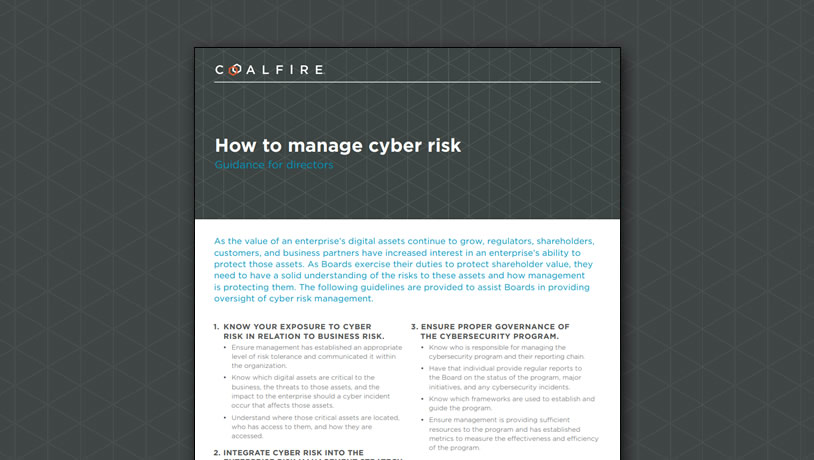 How to manage cyber risk - guidance for directors