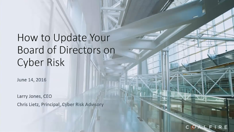 How to Update your Board of Directors on Cyber Risk